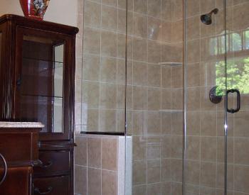Spacious Corner Walk-In Shower