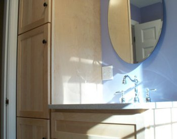 Wood Vanity and Linen Tower